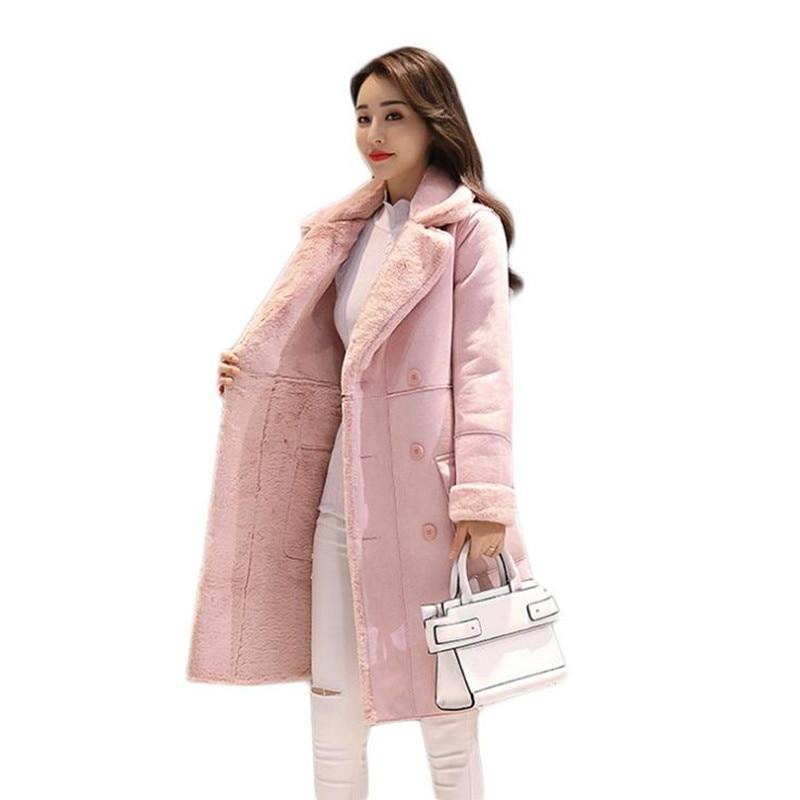 Gris Femmes Nouveau rose Velours Manteau Tissu Suède Qualité Casaco En Haute 2019 Pardessus De Mulheres Plus Tempérament Casual Revers D'hiver qBgSUxf