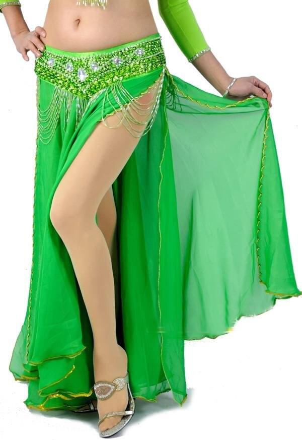 Модные/Горячие Новые Сексуальные костюмы для танца живота юбка bead edge 2 слоя с 2-сторонняя юбка-макси 10 цветов - Цвет: Green