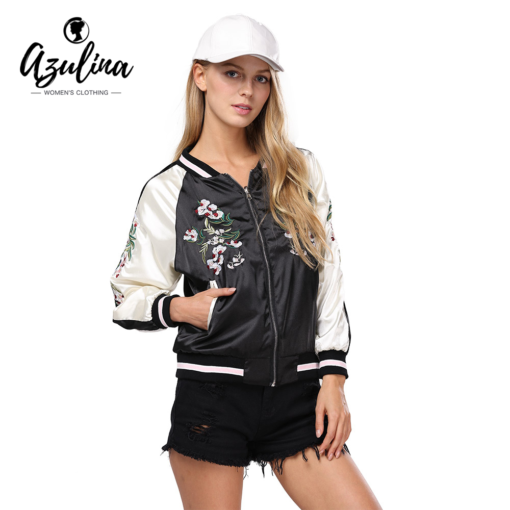 AZULINA Embroidery Floral Bomber   Jacket   Autumn Spring Women Flower Baseball Souvenir   Basic     Jackets   Female Casual 2017 Black Soft