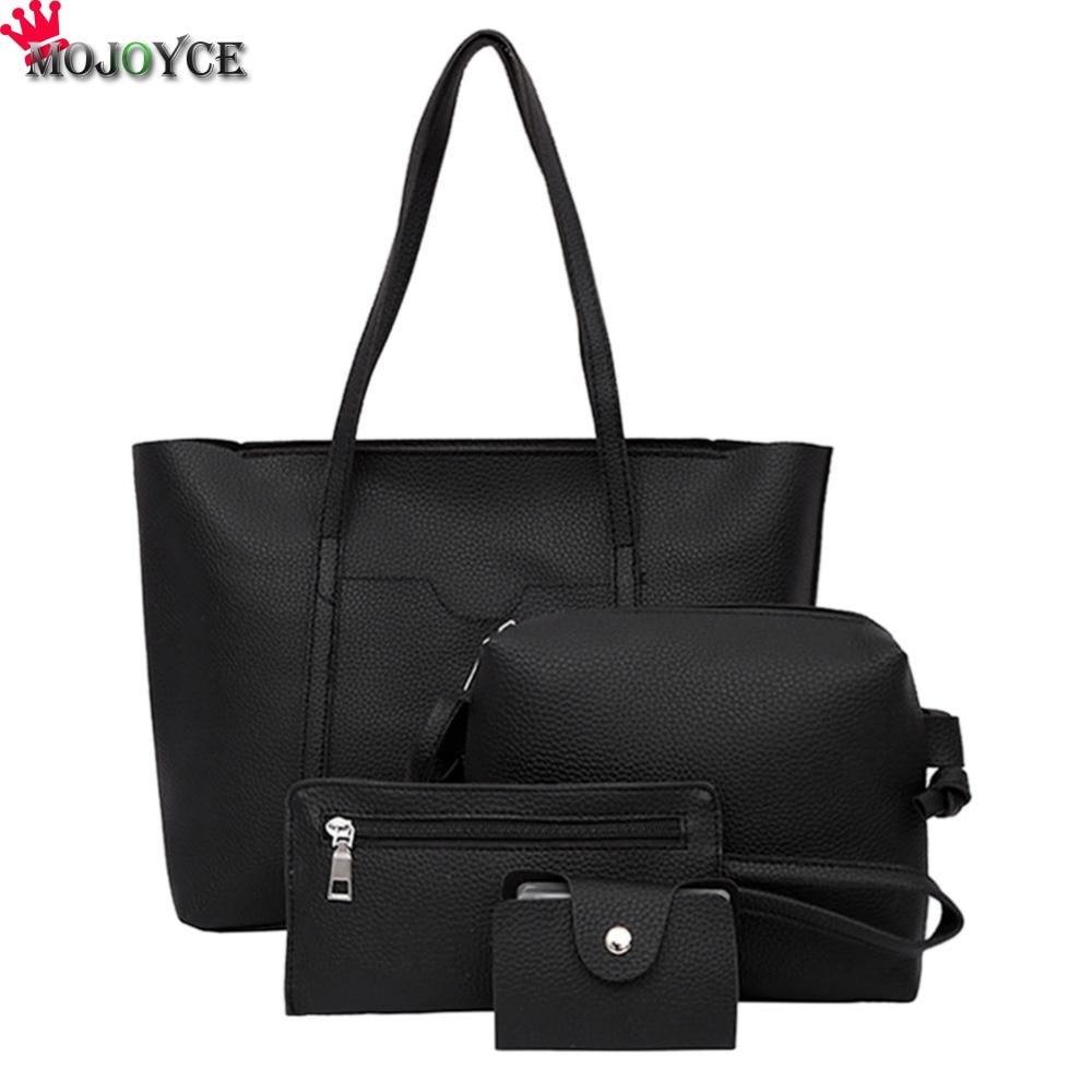 New Arrival 4PCS/set Women Purse Handbags Sets Ladies PU Leather Shoulder Bags Female Messenger Bags Crossbody Tote Bag