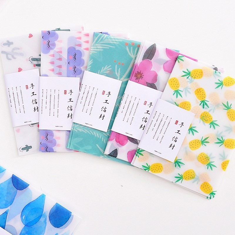 3 Pcs Colorful Flower Pattern Transparent Litmus Paper Envelope Gift In Party Wedding Korean Stationery With Stickers