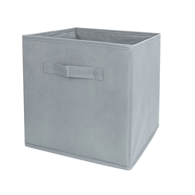 Grey Fabric Cube Storage Bins Foldable Premium Quality