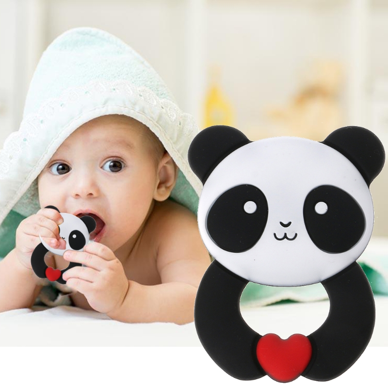 Free Shipping Panda Baby Teethers Pendant Necklace Accessory BPA Free Silicone Chew Toys