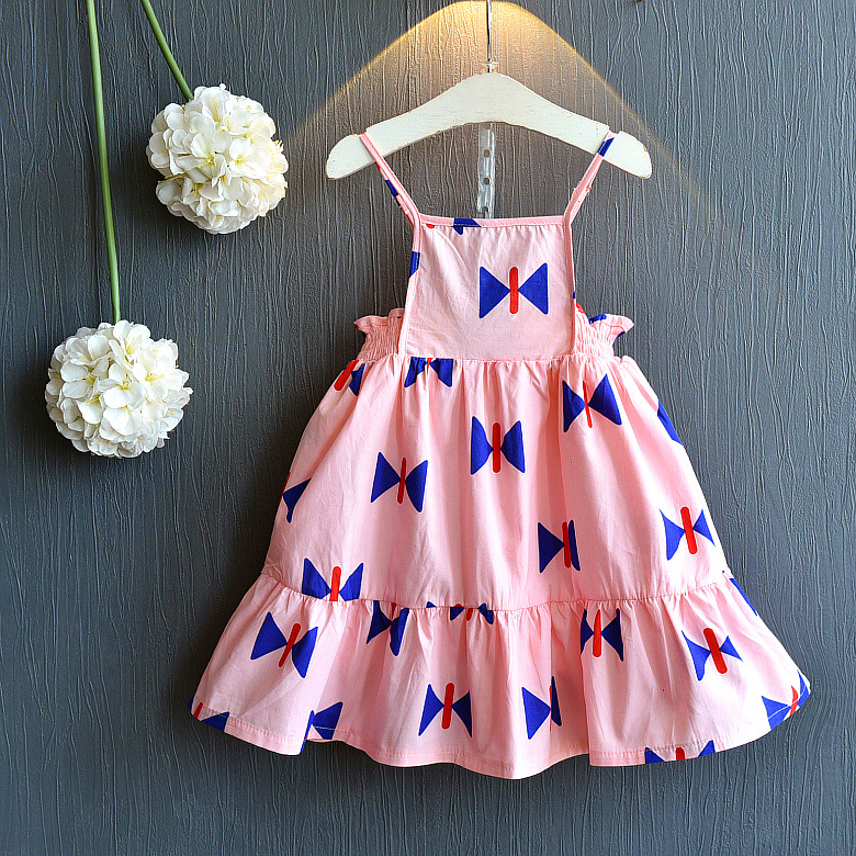 cute bow print baby dress summer girl clothing a line elegent dress children clothing kids clothes party girl sundresses vestido