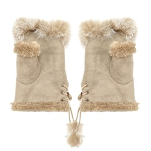 Fashion Suede Leather Gloves faux Rabbit Hair Wrist Fingerless Mittens