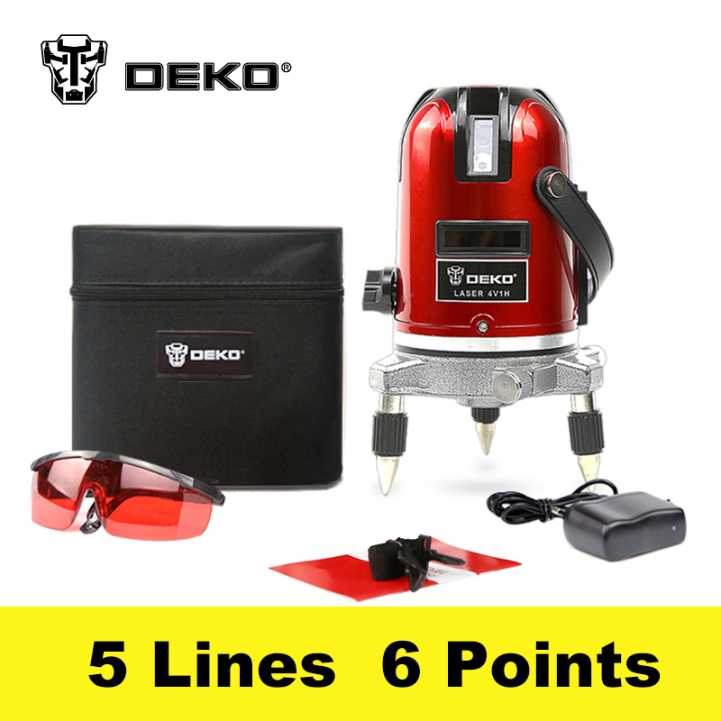 DEKOPRO 5 Lines 6 Points Laser Level 360 Vertical & Horizontal Rotary Cross Laser Line Leveling w/ Oxfrod Case 1pc laser cast line machine multifunction laser line cross line laser rotary laser level 360 selfing leveling 5 line 4v1h3 point