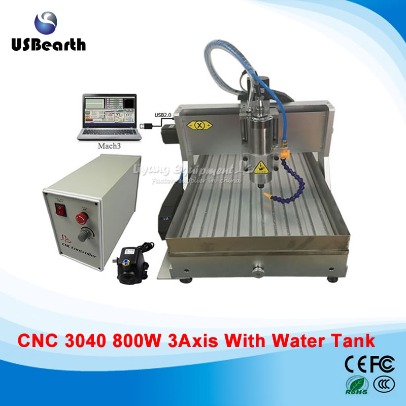 USB port cnc 3040 engraving machine with 800w water cooled spindle and water tank , EU country free tax cnc 3040z s 3 axis mini cnc router with 800w vfd water cooled spindle engraving lathe machine free tax to eu