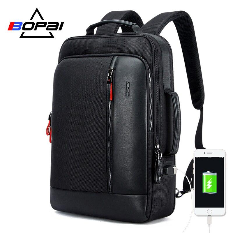 BOPAI USB Charge Bagpack Men Black Leather Backpack School Bags Hidden Pocket Anti Theft Backpack Men