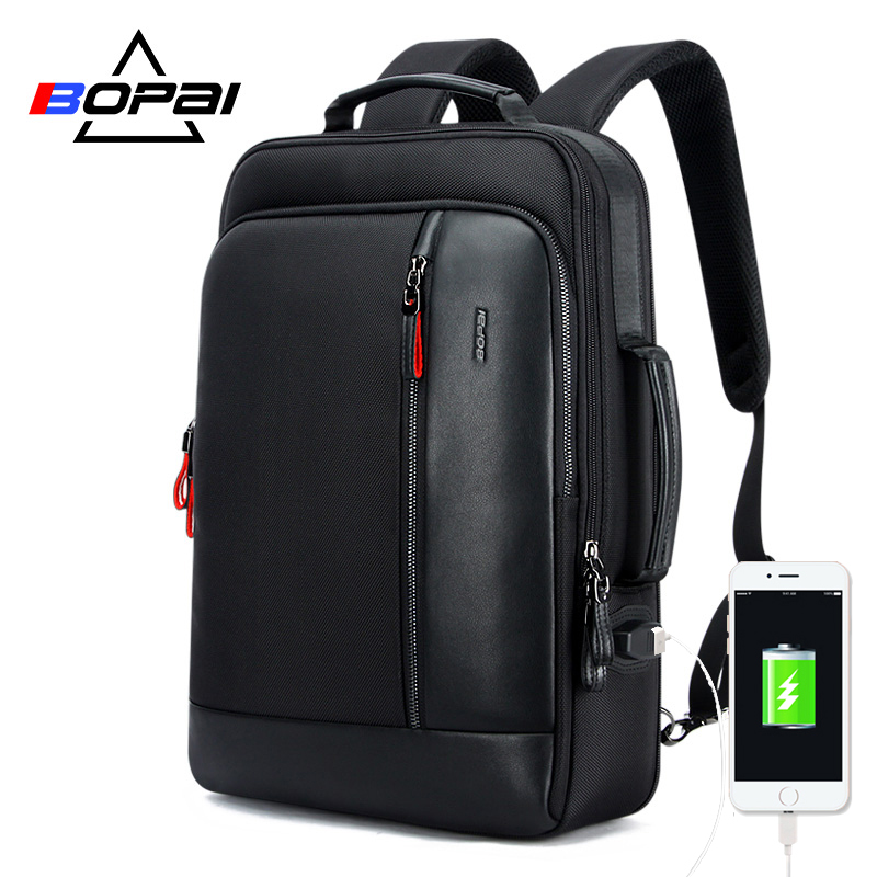 BOPAI USB Charge Bagpack Men Black Leather Backpack School Bags Hidden Pocket Anti Theft Backpack Men Laptop Backpack sac a dos-in Backpacks from Luggage & Bags