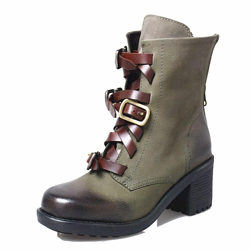 Prova Perfetto modne buty motocyklowe kobiety prawdziwa skóra metalowa klamra wysokie obcasy buty na zamek błyskawiczny zielony botki kobieta sznurowanie w Buty do kostki od Buty na  Grupa 2