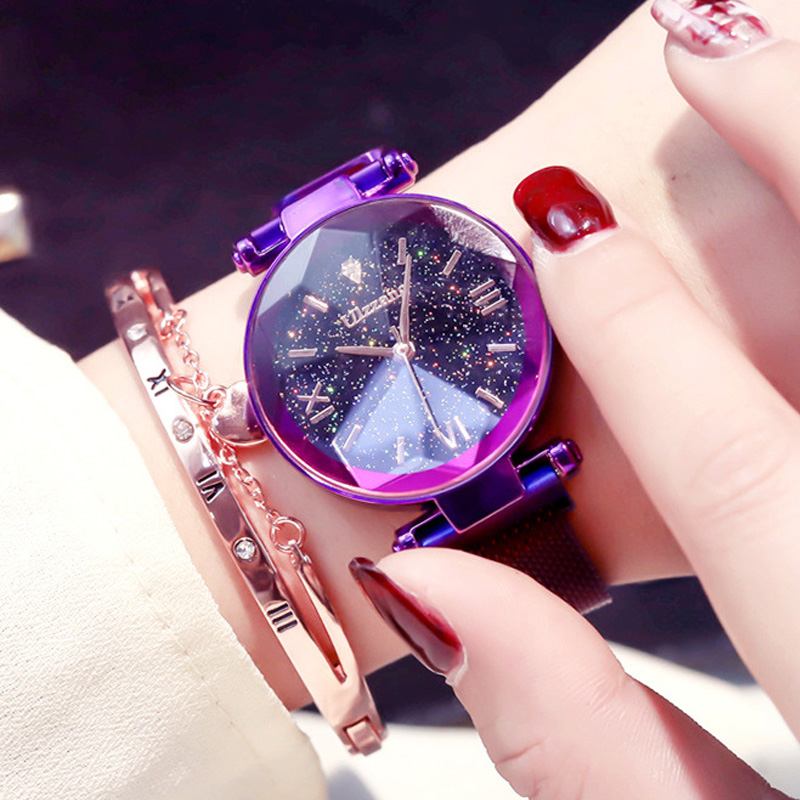 Luxury Charming Purple Women Watches Starry Sky Magnet Buckle Clock Fashion Casual Female Wristwatch Waterproof Roman Numeral   Luxury Charming Purple Women Watches Starry Sky Magnet Buckle Clock Fashion Casual Female Wristwatch Waterproof Roman Numeral