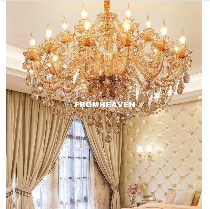 Moderne Gouden K9 Kristallen Kroonluchter Lustre Kroonluchters E14 LED Licht Lustres De Cristal Kroonluchter LED Villa Amber Lamp