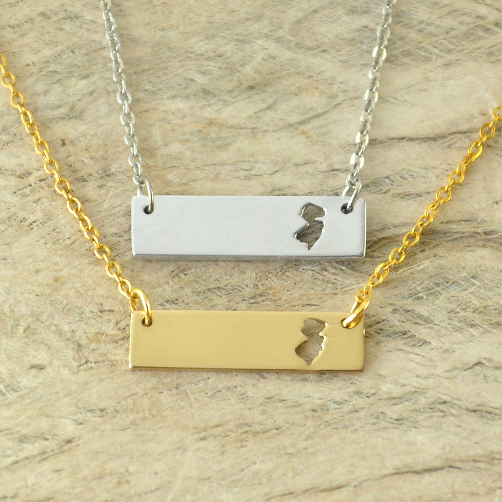 New Jersey Bar Necklace Cut Out Map Necklace Alloy State Necklace Map Charm Custom Map State Pride Bar Necklace