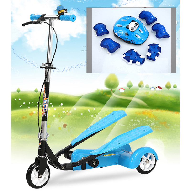 Easy Ride Kids 2 Pedal Scooter Dual Pedal Scooter Double Pedal Scooter With Brake And  Musical Light And Safety Helmet 7 Safer 2017 real sale bicicleta infantil kids scooter bikes four flash wheels breaststroke baby swing bike ride on toy more safety