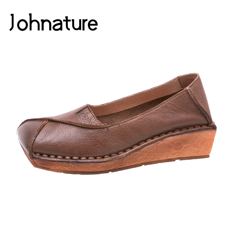 Johnature 2019 New Spring autumn Casual Retro Genuine Leather Shallow Slip on Platform Shoes Women Wedges