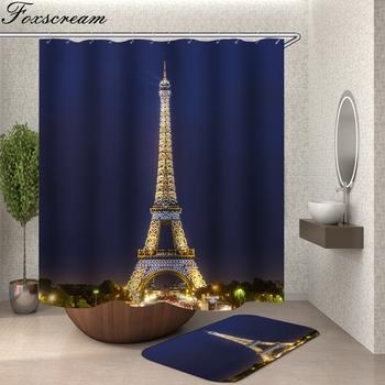 Eifel Tower zasłona prysznicowa niebieski materiał 3d łazienka zasłona prysznicowa wanna zasłona z hakami wodoodporna kurtyna lub mata tanie i dobre opinie Foxscream show curtain Europa Zaopatrzony Ekologiczne PLANT Poliester 90cm--180cm 180cm--200cm bathing curtain High Wide