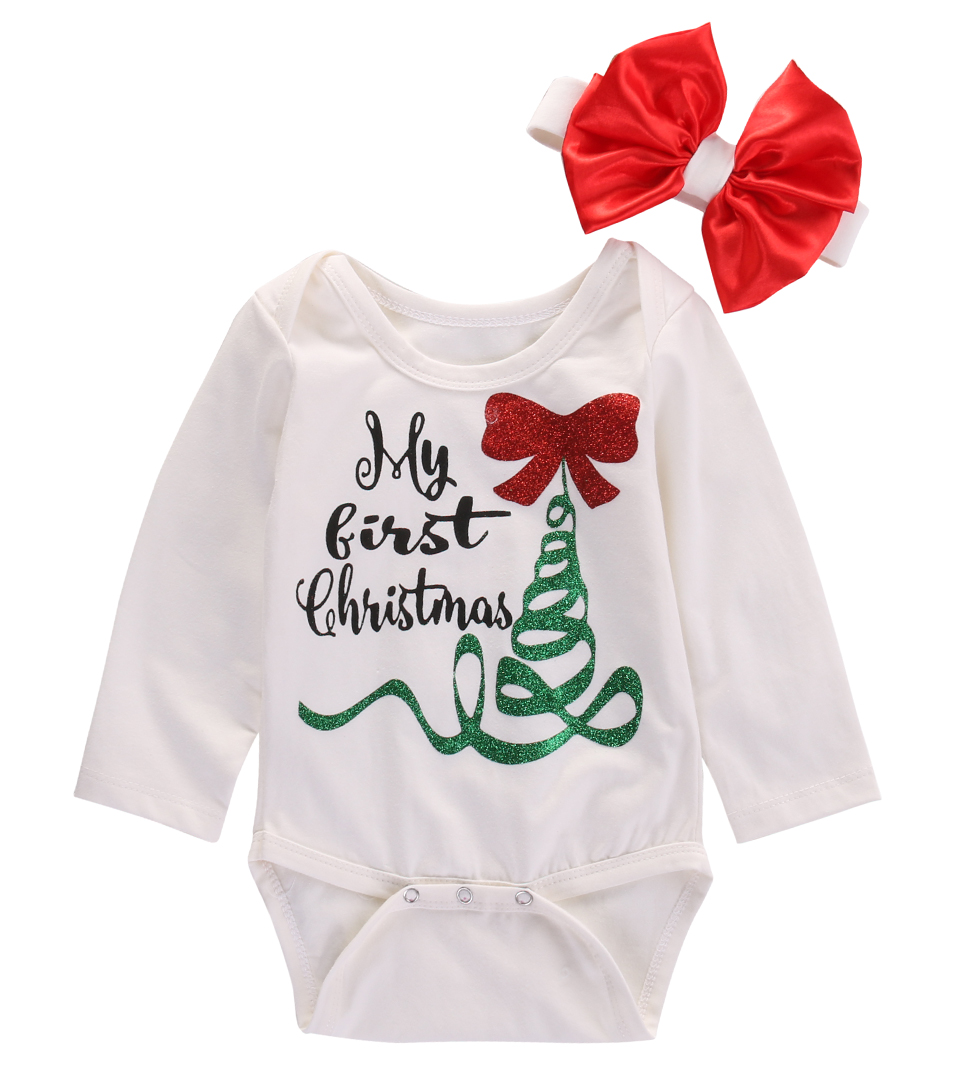 Xmas Newborn Baby Girl Long Sleeve   Romper   Jumpsuit My First Christmas Bowknot Headband Outfits Clothes