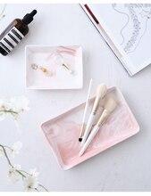 Nordic Storage Trays Marble Pattern Ceramics Table Minimalist Dessert Jewelry Plate Office Desk Organizer