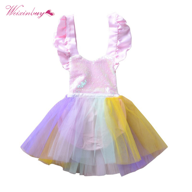 ae30491c99f WEIXINBUY Infant Baby Girl Princess Dress Sling Pink Sequined Romper  Colorful Net Yarn Children Girls Tutu Dresses
