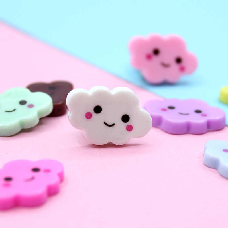 Happy Monkey 15pcs/pack Resin Smiley Cloud Slime Supplies Toys Mini DIY Slime Accessories Filler For Fluffy Clear Slime