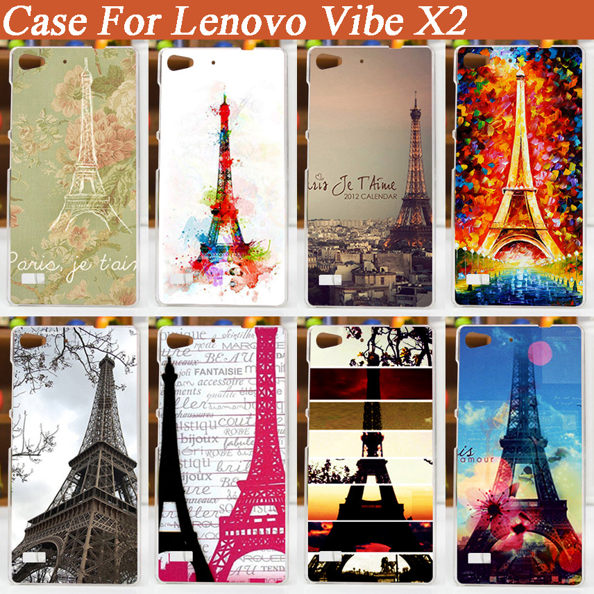 popular Colored Drawing case for Lenovo Vibe X2 Cover/15 Patterns Painting Case Cover FOR Lenovo Vibe X2 Eiffel Tower design