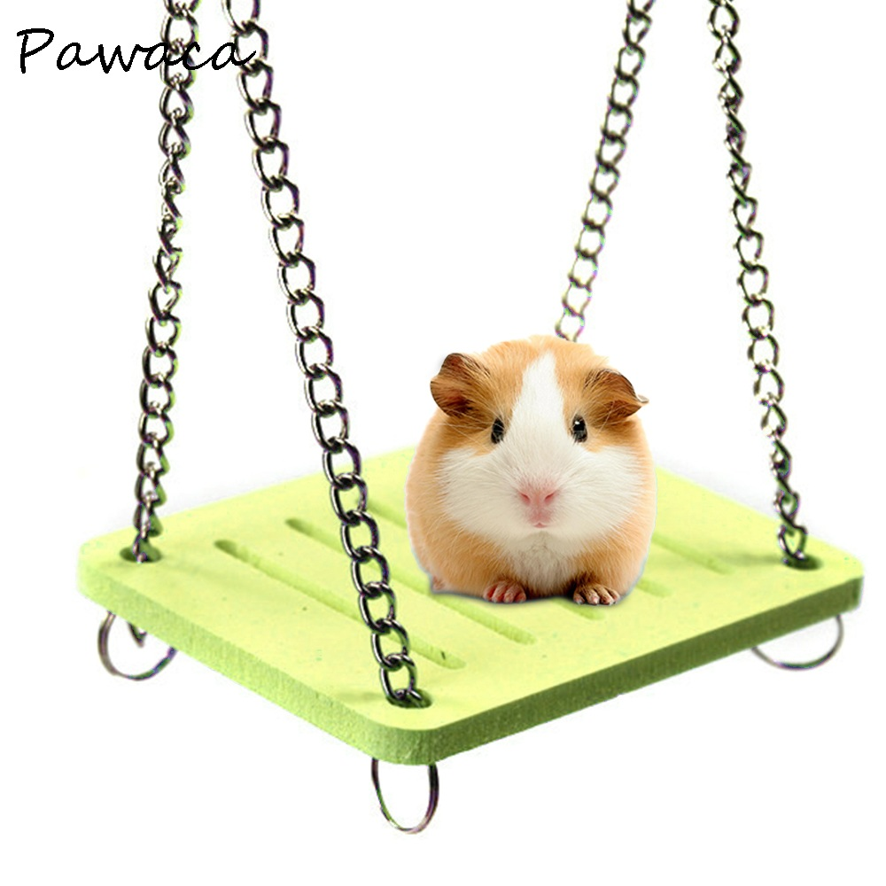 Cute Parrot Hamster Swing Hanging Gadget Wooden Cage Hamster Toy Chinchilla Amuse Mouse Pet Accessories Supplies