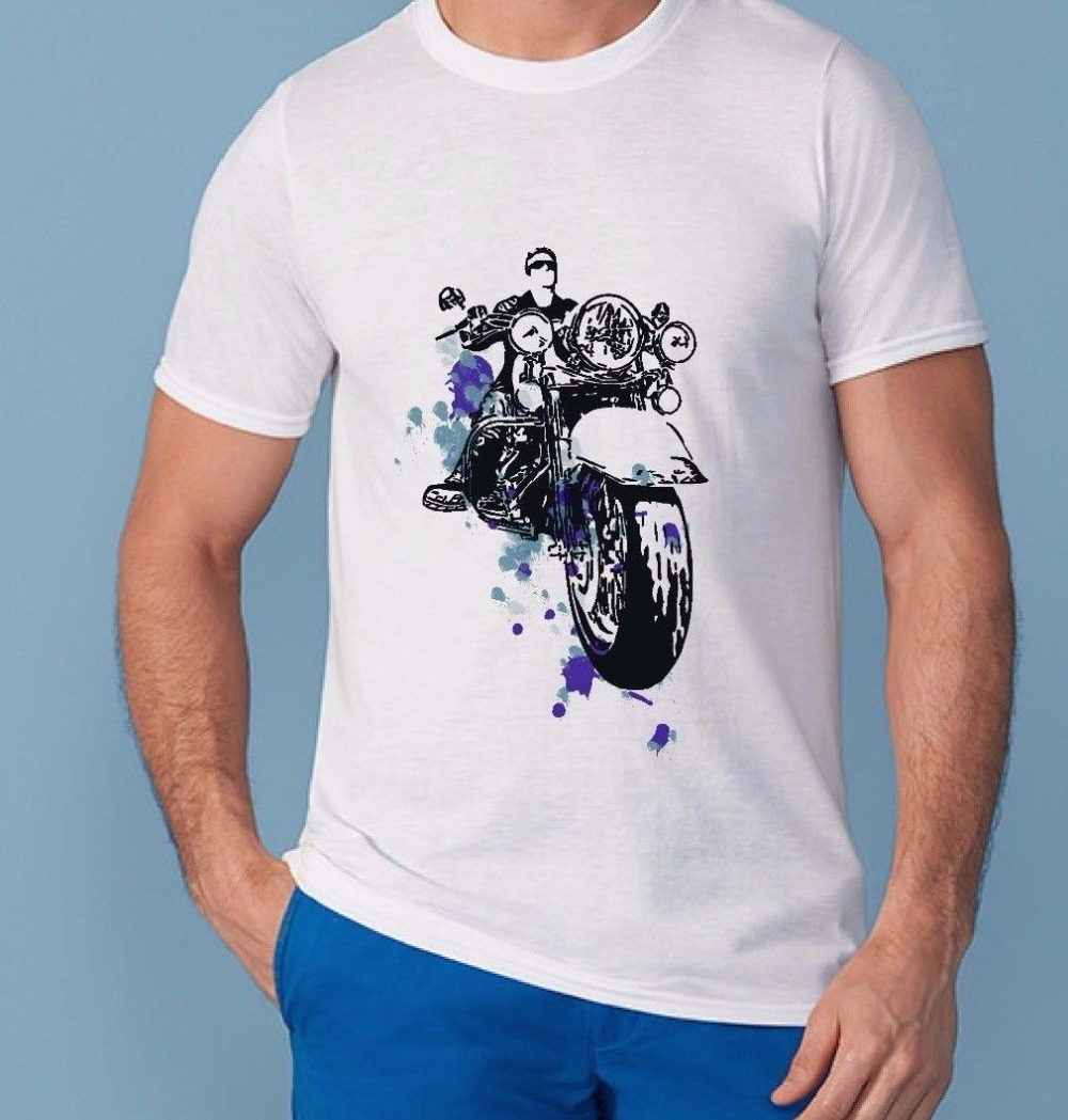 2018 New Plus Size Mens Homme Hot Sale 100% cotton Summer Short Sleeve Motorbike Arts MenS T-Shirt hot fashion solid Tee shirt