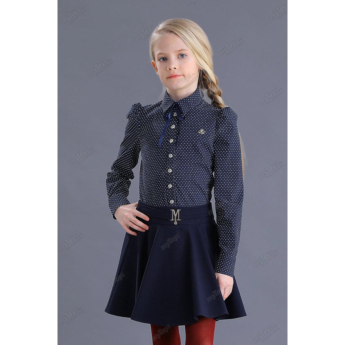 Malenkaya Lady Blouses & Shirts 11685553 blouse for girl school  clothes jacket wardrobe childrens shirt White Blue Girls Turn-down Collar