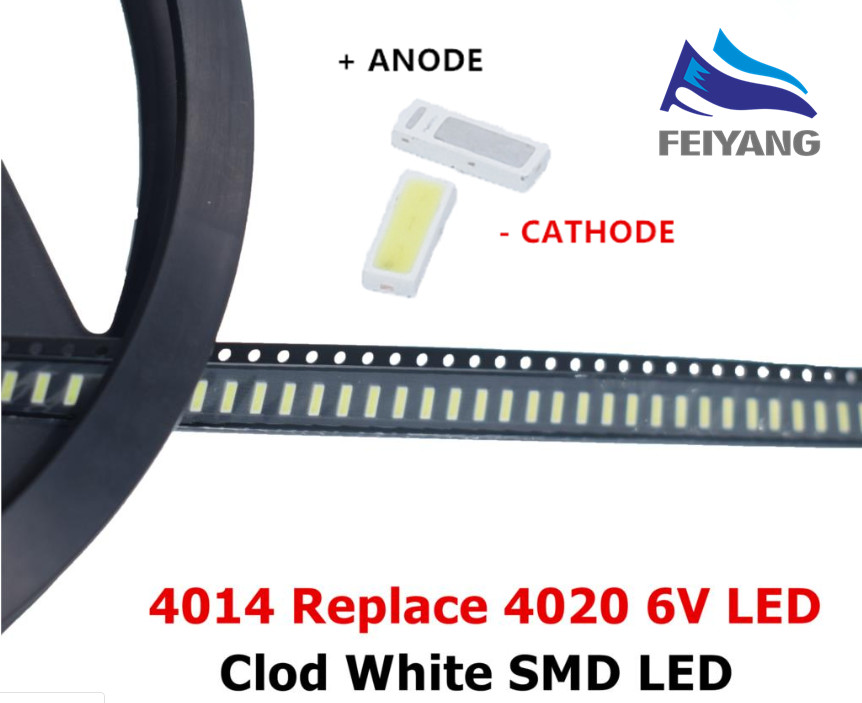 50PCS/Lot 4014 4020 CHIP-2 SMD LED Beads Cold white 1W 6V 150mA For TV/LCD Backlight