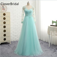 Mint Green Evening Dress Long Sleeves Tulle With Appliques Lace Robe De Soiree Floor Length Vestido