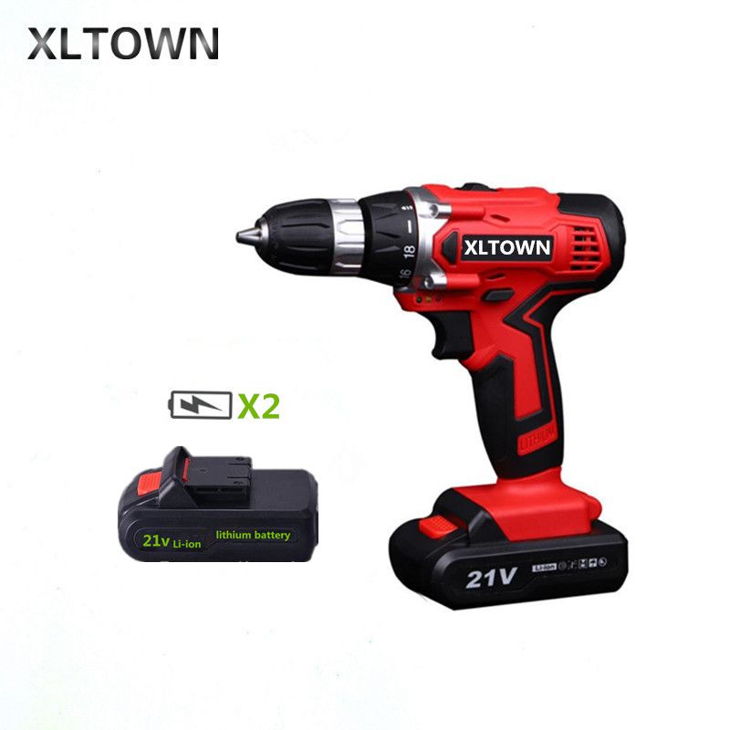 цена на XLTOWN new 21v electric screwdriver rechargeable lithium battery two-speed electric screwdriver home cordless drill Power tools