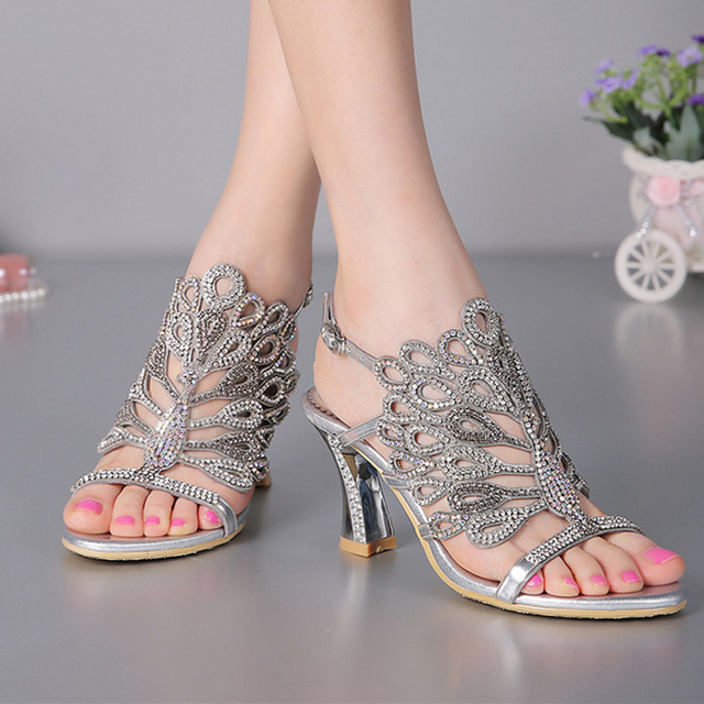 3a6cc0a7a9dc Luxurious Silver Rhinestone Genuine Leather High Heels Wedding Dress Shoes  Summer Sandals Chunky Heel Floral Formal Dress Shoes
