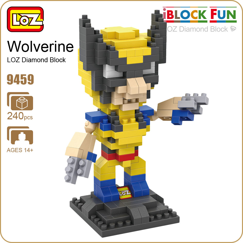 LOZ Diamond Blocks Logan Superheroes Action Figure Toys For Boys Educational Super Hero Titan Doll Gift DIY Mirco Bricks 9459