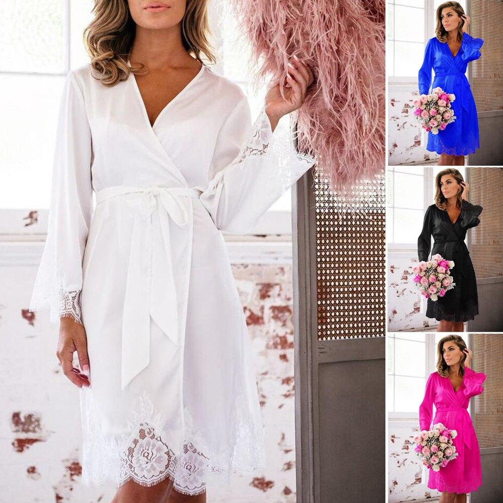 Women\'S Sexy Silk Satin Deep V Bathrobe Pajamas Robe Lingerie Sleepwear Nightwear