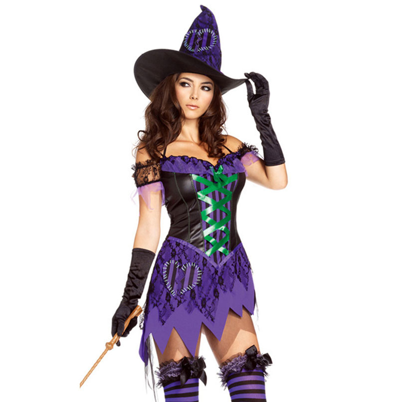 Purple / Black Low Cut V-neck Adult <font><b>Sexy</b></font> Witch Costume For <font><b>Halloween</b></font> Costumes For Women Plus Size Fancy Dress <font><b>Disfraces</b></font> Adultos image