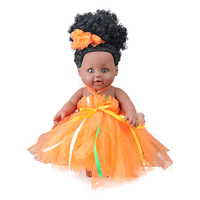 African black baby doll reborn girl 12inch veil dress boneca corpo inteiro de silicone super pop lifelike girl toys for kids
