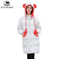 CIVICHIC New Fashion Winter Cute Warm Coat Plus Size Loose Parka Girl Hooded Down Jacket Soft Mid Long Bread Lovely Wear DC570