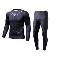 2018 Men Compression T Shirt Pants Black Panther 3d Print Superhero Coaplay Costumes T Shirts Long