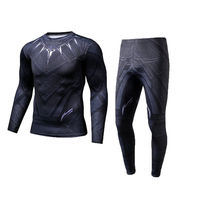 2018 Men Compression T Shirt Pants Black Panther 3d Print Superhero Coaplay Costumes T Shirts Long