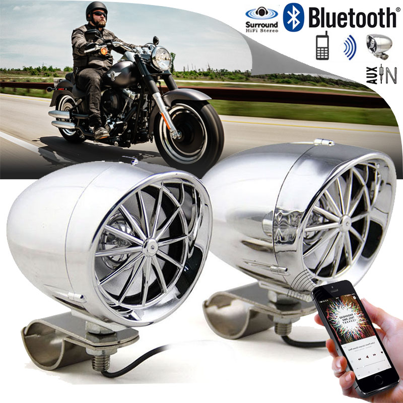 1set Sliver Wired Control Bluetooth Speaker Portable Motorcycle Handlebar Wired Bluetooth Speaker for Most of Motorcycles