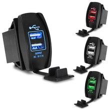 Автомобильное USB зарядное устройство прикуриватель адаптер питания 12-24 В 3.1A двойное USB зарядное устройство для автомобиля лодки мотоцикла грузовика ATV