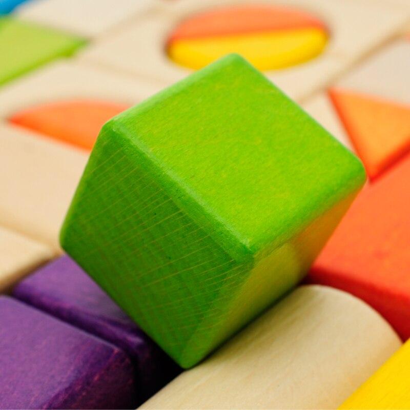 Colore del legno blocchi giocattoli per i bambini, di Faggio 54 PCS di colore blocchi di Costruzione, giocattoli Educativi per bambini, di alta qualità blocchi di legno naturale-in Blocchi di legno da Giocattoli e hobby su  Gruppo 3