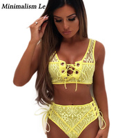 Minimalism Le Bandage Bikinis 2018 Sexy Lace Swimwear Women Solid Cross Bikini Set High Waist Swimsuit