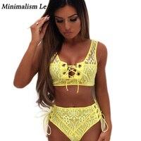 Minimalism Le Bandage Bikinis 2018 Sexy Lace Swimwear Women Solid Cross Bikini Set High Waist Swimsuit
