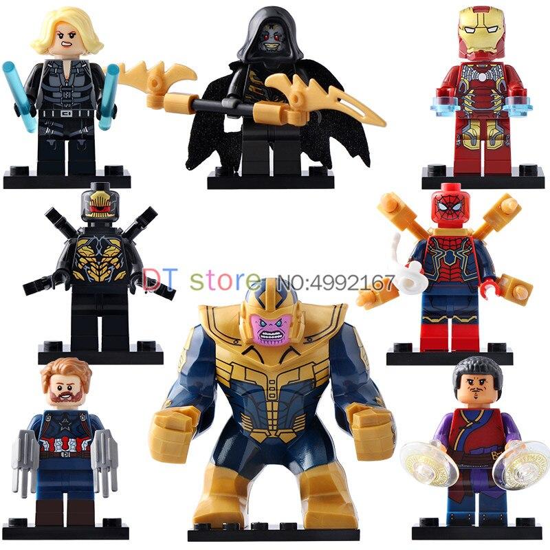 50 Pcs/Lot LegoING Blocs de Construction Super Héros Thanos Noir Veuve Iron Man Lady Death Spider-Man Briques Jouets Enfants x0186
