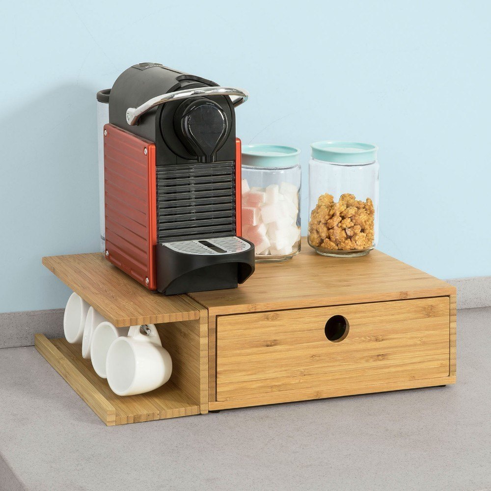SoBuy FRG269-N, Coffee Machine Stand & Coffee Pod Capsule Teabags Box Holder Organizer with Drawer, Bamboo