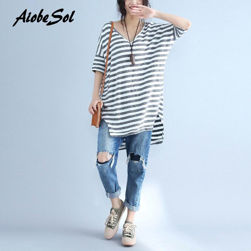 2018 Women Fashion Plus Size T-shirt Summer Femme Vintage Asymmetric Striped Deep V-neck Short Sleeve Long Tee Shirt Tops white short sleeve v neck asymmetric t shirt