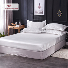 Slowdream 1 Piece Luxury 100% Silk White Fitted Sheet Wholesale Elastic Band Mattress Cover Queen King Bed Sheets For Women Men slowdream 1 piece wholesale luxury 100% silk fitted sheet elastic band mattress cover queen king bed sheets for women men