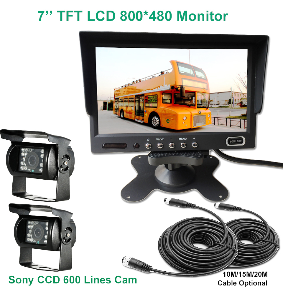 KOENBANG 2*4pin 600 Lines Night Vision SONY CCD Rear View Reverse Camera+ 800*480 7 inch TFT LCD Monitor System For Bus Truck все цены