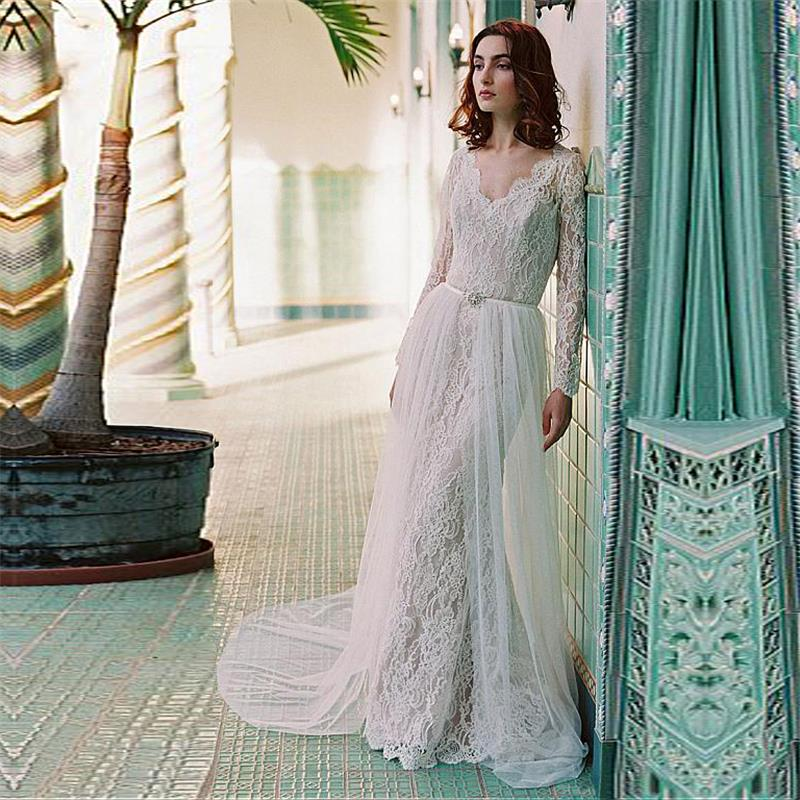 Elegant boho wedding dresses 2017 new long sleeves for Boho dresses for wedding guests